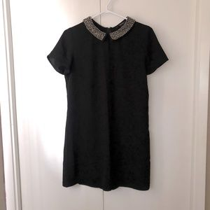 Beaded collar black dress